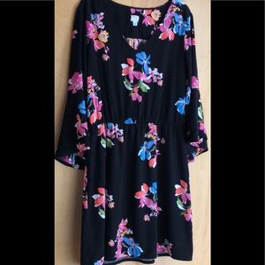A New Day black floral dress with bell sleeves L